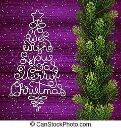 陽気, レタリング, 私達, 形態, 贈り物, 願い, 木, 手, 木, 背景, あなた, 休日, クリスマスカード