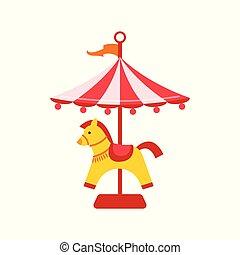 陽気, 平ら, 馬, 回転木馬, カーニバル, 型, concept., 飛行, 公園, 隔離された, イラスト, ベクトル, icon., 背景, 行きなさい, 白, ラウンド, funfair, 娯楽, 有色人種