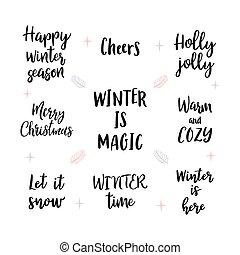 陽気, 年, 幸せ, 新しい, 手書き, カード, カリグラフィー, デザイン, ∥あるいは∥, レタリング, クリスマス, 願い, 招待, セット, sayings., 挨拶