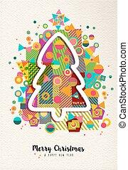 陽気, 年, 新しい, 木, クリスマス, カラフルである, 楽しみ, アウトライン