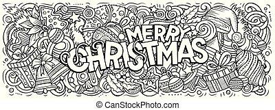 陽気, 要素, doodles, 年, デザイン, クリスマス, オブジェクト, illustration., 新しい