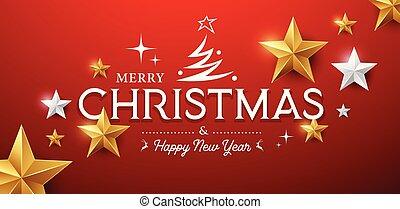 陽気, 金, クリスマス, デザイン, 星, ベクトル, メッセージ, 銀