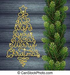 陽気, 金, 私達, 形態, 贈り物, レタリング, 願い, 木, 手, 木, 背景, あなた, 休日, クリスマスカード