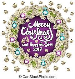 陽気, illustration., 金, 紫色, 型, 活版印刷, wreath., ベクトル, 背景, 年, 新しい, 2017, クリスマスカード, 幸せ