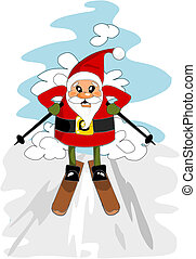 陽気, illustration., -, calus, ベクトル, santa, スキー, クリスマス, 幸せ