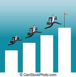隊, 到達, goal., 成功, 人們, 跑, 上, 生長, 圖表, 酒吧。, 事務, 成就, 矢量, 概念