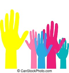 隊, 向上, 工作, hands., volunteering., 概念, 提高, 鮮艷, 手