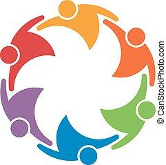 隊 工作, 人們, 組, ......的, 6, 在, a, circle., 概念, ......的, 聯合