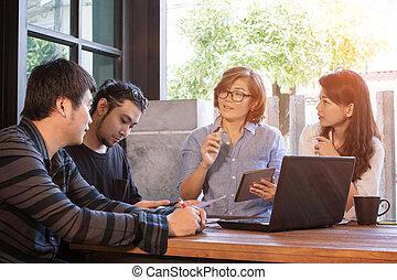 隊, ......的, 自由職業者, 會議, 為, 工作, 解決, 在, 家庭辦公室