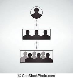 階層, 構造, シルエット, ビジネス 人々