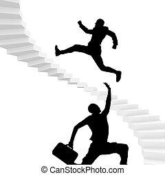 階段の上で, へ, 成功