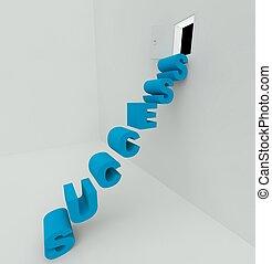 階段, へ, 成功, 3d, render