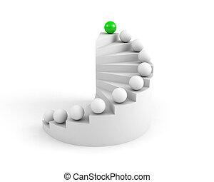 階段, へ, success., 緑