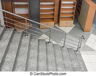 階段, キャビネット, 空, 立つ, オフィス, 下に