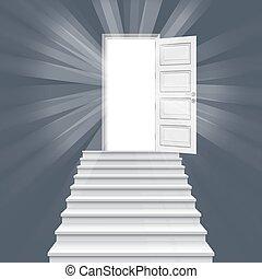 階段, ドア, illustration., 先導, まっすぐに, ベクトル, 開いた