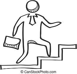 階段, ビジネスマン, スケッチ, -, アイコン