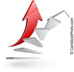 階段, ビジネス, 成功