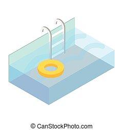 階段, プール, 水泳