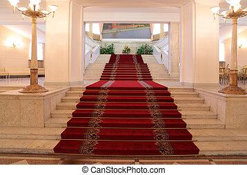 階段, 中, 贅沢, アパート