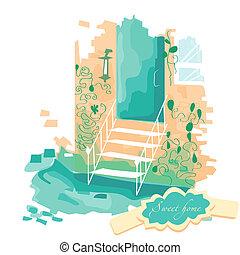 階段, 先導, ベクトル, ドア, illustration.