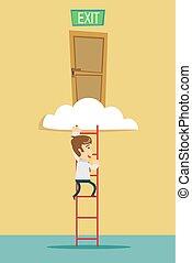 階段, 出口, 雲
