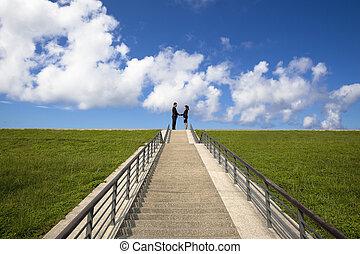 階段, 動揺, 男の女性, ビジネス, 上, 手