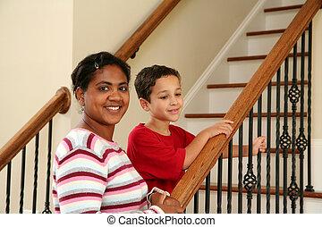 階段, 子供, 母