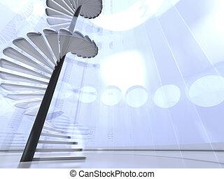 階段, 屋内, らせん状に動きなさい, ガラス, ラウンド, 未来派