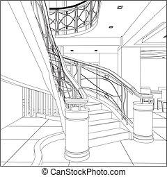 階段, 建築物, らせん状に動きなさい