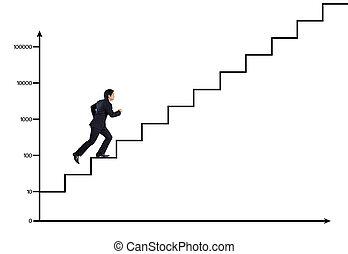 階段, 成功, ビジネス男