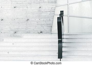 階段, 抽象的, 白, 現代, minimalism, 建築
