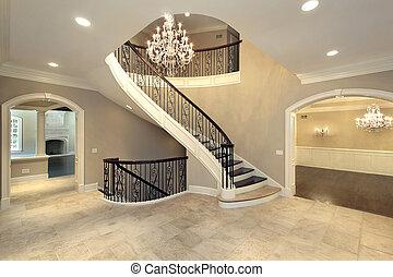 階段, 曲がった, ロビー