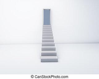 階段, 概念, 開いた, 成功, door.