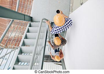階段, 歩くこと, 建築者, の上