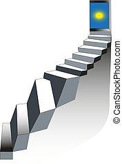 階段, 石, illustration., 階段, sky., はしご, door., 現実的, ベクトル, steps., 開いた, concept.