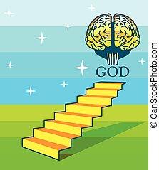 階段, 脳, 芸術, 神