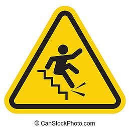 階段, 落ちる, 警告, 離れて, 印