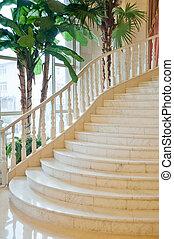階段, 贅沢, 部屋, クラシック