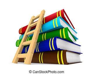 階段, 隔離された, イラスト, バックグラウンド。, 本, 白, 3d