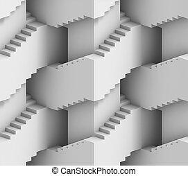階段, 3d, 迷路, 抽象的