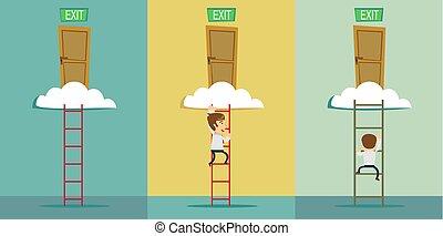 階段, cloud., セット, 出口