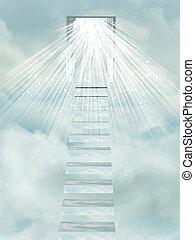 階段, heaven's, gate.