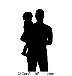 隔离, 人, 矢量, 婴儿, silhouette., 握住, 父亲, 孩子, 小