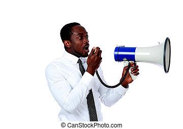 隔离, 呼喊, 通过, 背景, african, 白色, 扩音器, 人