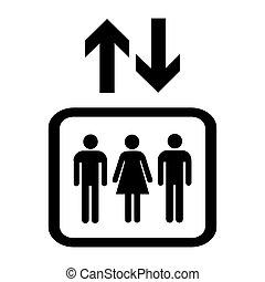 隔离, 图标, 白的背景, 标识语, 电梯