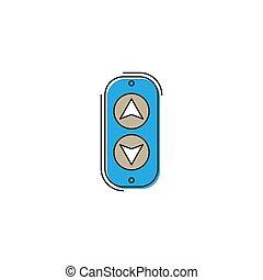 隔离, 电梯, 按钮, 矢量, 背景, 白色, 图标, 面板