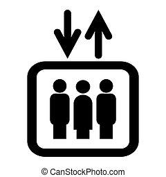 隔离, 电梯, 背景。, 白色, 图标, 标识语, illustration., 矢量