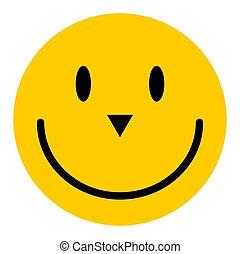 隔離された, アイコン, 幸せ, emoticon, 顔, ベクトル, バックグラウンド。, 白, 微笑, 特徴
