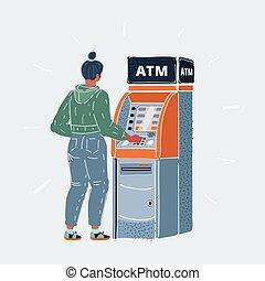 隔離された, イラスト, オブジェクト, atm, machine., 現金, ベクトル, 女, 白, 特徴, 使うこと, 背景