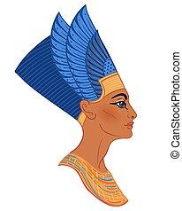 隔離された, エジプト人, 皇族, 白人の女王, nefertiti, wife., バックグラウンド。, vector...